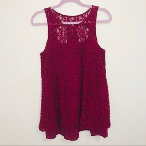 Free People embroidered lace oversized tank top SP